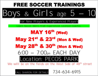 FREE SOCCER TRAININGS FOR KIDS 5-10 at Pecos Park